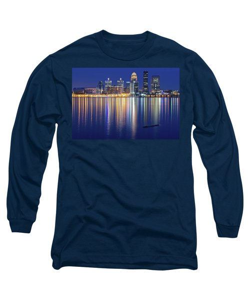 Louisville During Blue Hour Long Sleeve T-Shirt by Frozen in Time Fine Art Photography