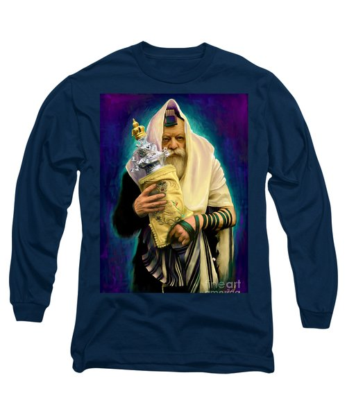 Lubavitcher Rebbe With Torah Long Sleeve T-Shirt by Sam Shacked