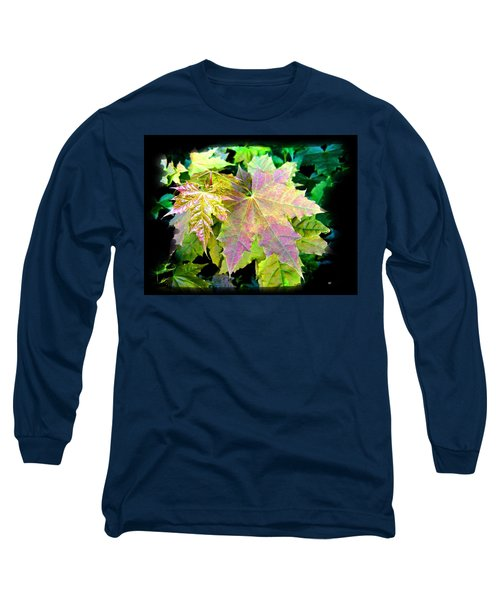 Long Sleeve T-Shirt featuring the mixed media Lush Spring Foliage by Will Borden