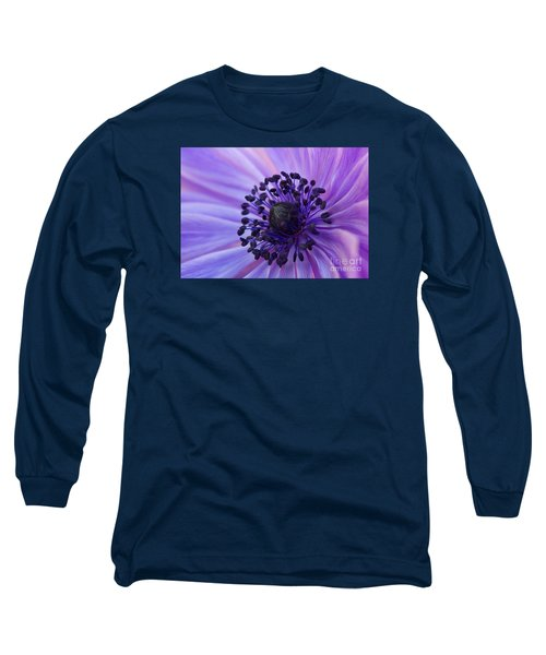 Macro Of Lavender Purple Anemone Long Sleeve T-Shirt