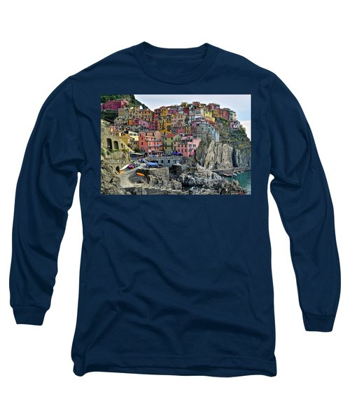 Long Sleeve T-Shirt featuring the photograph Manarola Cinque Terre Italy by Frozen in Time Fine Art Photography