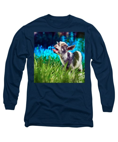 Baby Goat Kid Singing Long Sleeve T-Shirt by TC Morgan