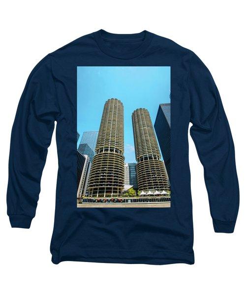 Long Sleeve T-Shirt featuring the photograph Marina City Chicago by Deborah Smolinske
