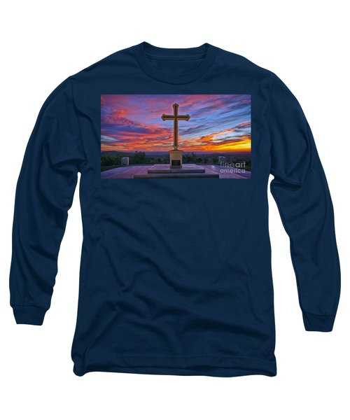 Christian Cross And Amazing Sunset Long Sleeve T-Shirt by Sam Antonio Photography