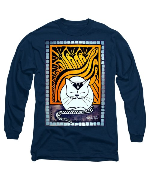 Long Sleeve T-Shirt featuring the painting Meditation - Cat Art By Dora Hathazi Mendes by Dora Hathazi Mendes