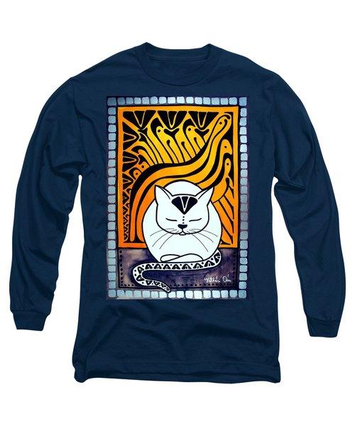Meditation - Cat Art By Dora Hathazi Mendes Long Sleeve T-Shirt