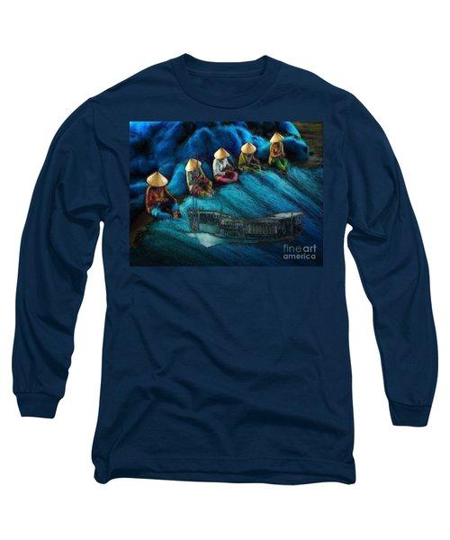 Mekong Weavers Long Sleeve T-Shirt by Mojo Mendiola