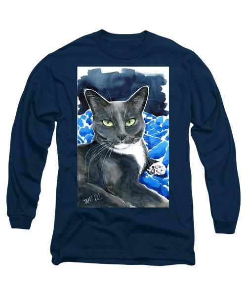 Melo - Blue Tuxedo Cat Painting Long Sleeve T-Shirt
