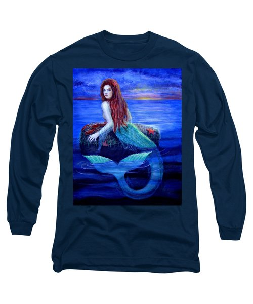 Long Sleeve T-Shirt featuring the painting Mermaid's Dinner by Sue Halstenberg