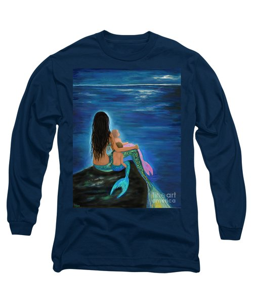 Long Sleeve T-Shirt featuring the painting Mermaids Sweet Little Ones by Leslie Allen