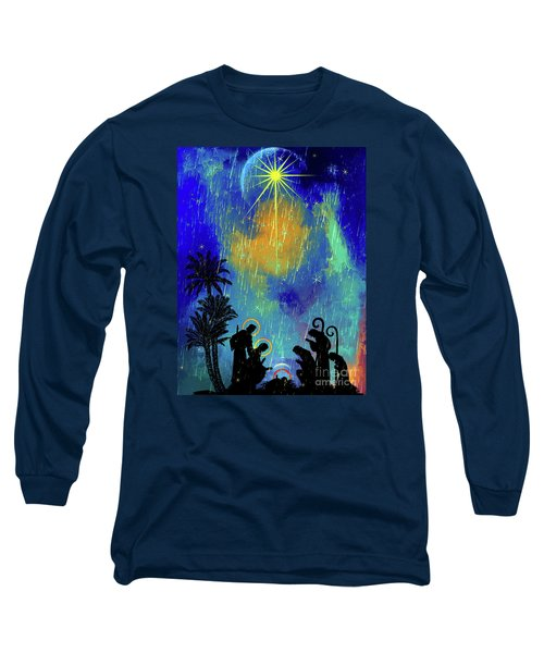 Long Sleeve T-Shirt featuring the painting  Merry Christmas To All. by Andrzej Szczerski