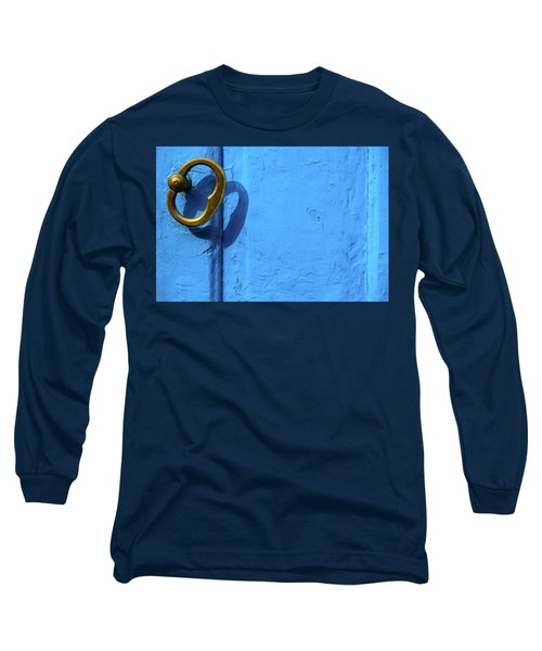 Long Sleeve T-Shirt featuring the photograph Metal Knob Blue Door by Prakash Ghai