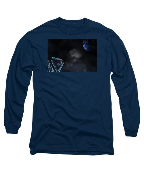 Micro Chips In Outer Space On The Way To Planets Long Sleeve T-Shirt by Christian Lagereek