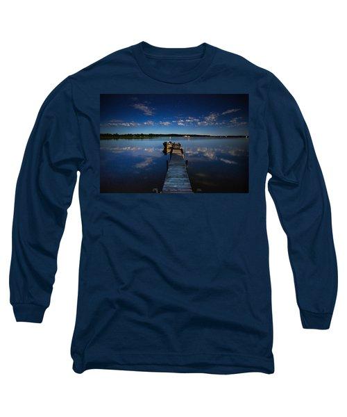 Midnight At Shady Shore On Moose Lake Minnesota Long Sleeve T-Shirt