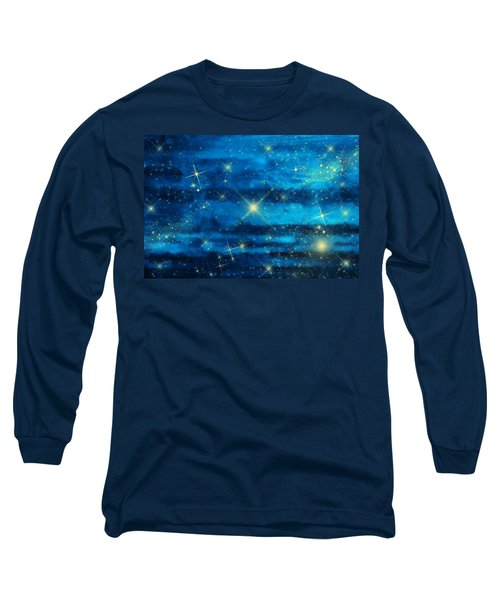 Midnight Blue Sky With Stars Long Sleeve T-Shirt