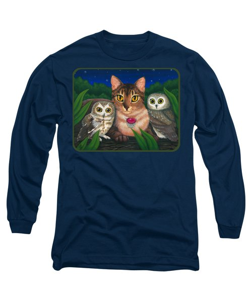Long Sleeve T-Shirt featuring the painting Midnight Watching - Abyssinian Cat Saw Whet Owls by Carrie Hawks