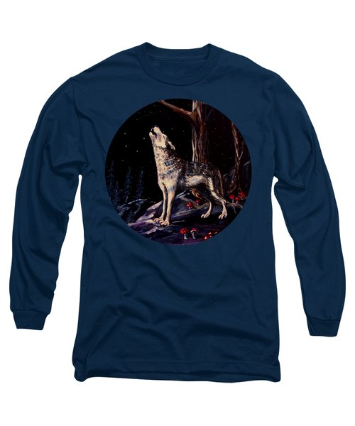 Midnight Wolf Long Sleeve T-Shirt by Ruanna Sion Shadd a'Dann'l Yoder