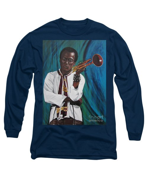 Miles-in A Really Cool White Shirt Long Sleeve T-Shirt by Sigrid Tune