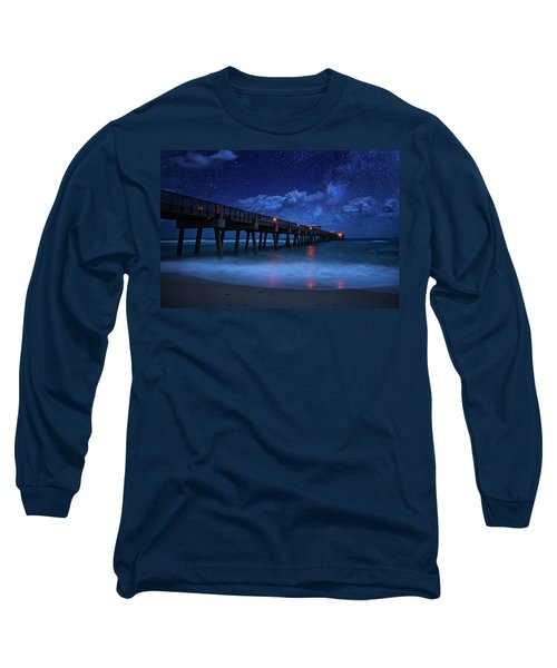 Milky Way Over Juno Beach Pier Under Moonlight Long Sleeve T-Shirt