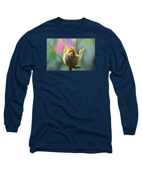 Miniature Rose Bud. Long Sleeve T-Shirt by Terence Davis