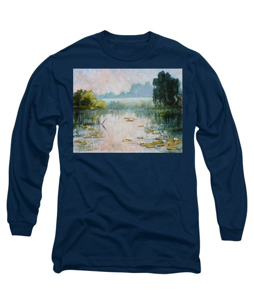 Mist Over Water Lilies Pond Long Sleeve T-Shirt