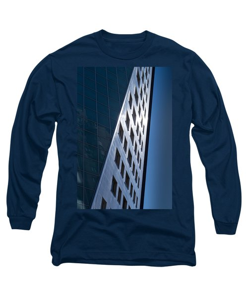 Long Sleeve T-Shirt featuring the photograph Blue Modern Apartment Building by John Williams