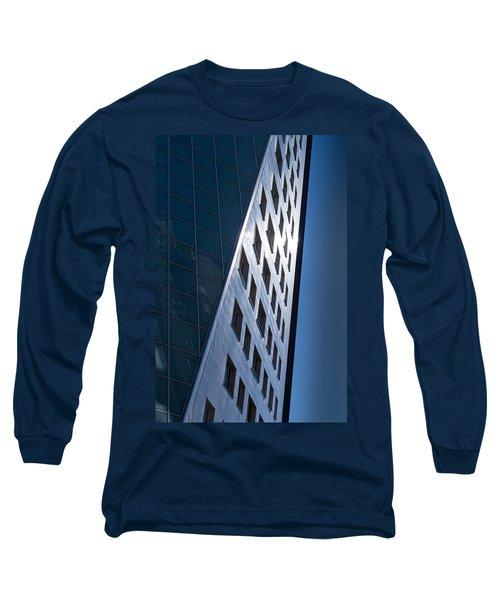 Blue Modern Apartment Building Long Sleeve T-Shirt by John Williams