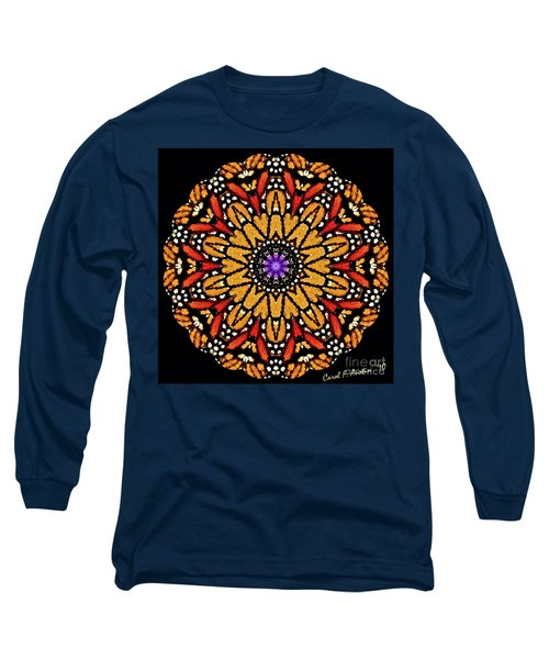 Monarch Butterfly Wings Kaleidoscope Long Sleeve T-Shirt by Carol F Austin