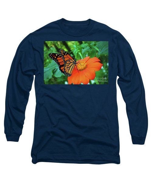 Monarch On Mexican Sunflower Long Sleeve T-Shirt