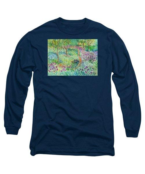Monet Inspired Iris Garden Long Sleeve T-Shirt