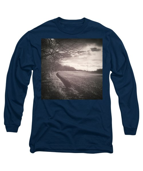 #monochrome #landscape  #field #trees Long Sleeve T-Shirt