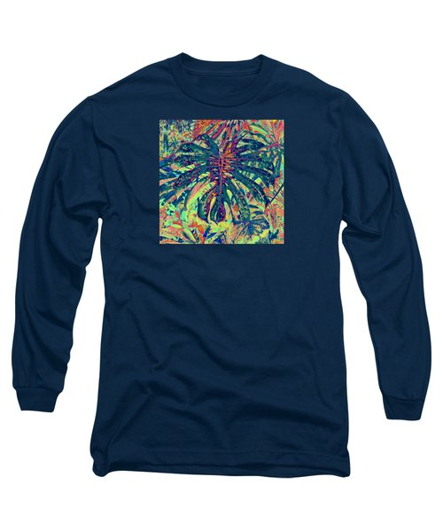 Monstera Leaf Patterns - Square Long Sleeve T-Shirt by Kerri Ligatich