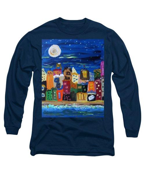Moon And Sea Waves Long Sleeve T-Shirt by Mary Carol Williams