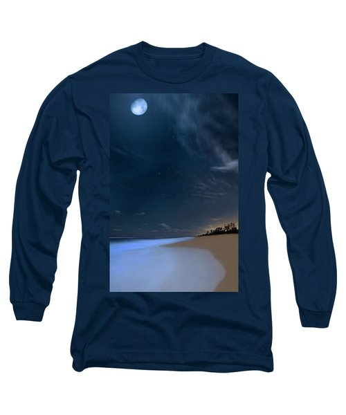 Moon Over Hobe Sound Beach Florida  Long Sleeve T-Shirt