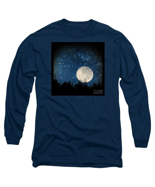 Moon, Tree And Stars Long Sleeve T-Shirt