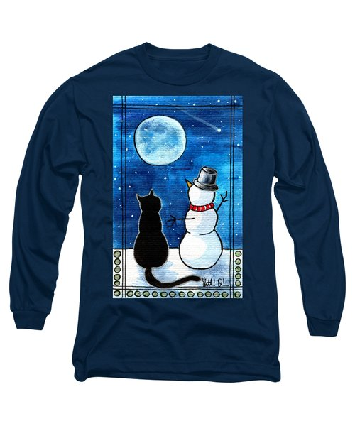 Moon Watching With Snowman - Christmas Cat Long Sleeve T-Shirt