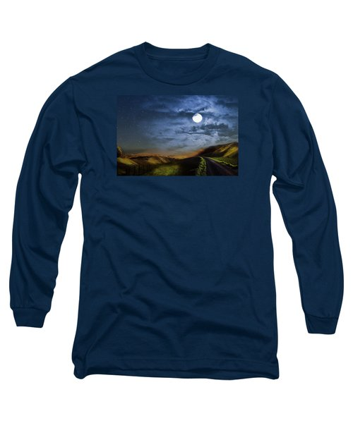Moonlight Path Long Sleeve T-Shirt by Swank Photography