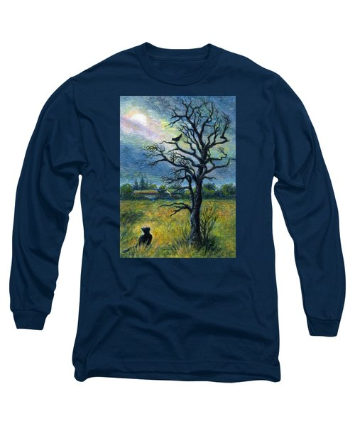 Moonlight Prowl Long Sleeve T-Shirt by Retta Stephenson