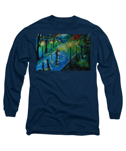 Long Sleeve T-Shirt featuring the painting Moonlight Stroll by Leslie Allen