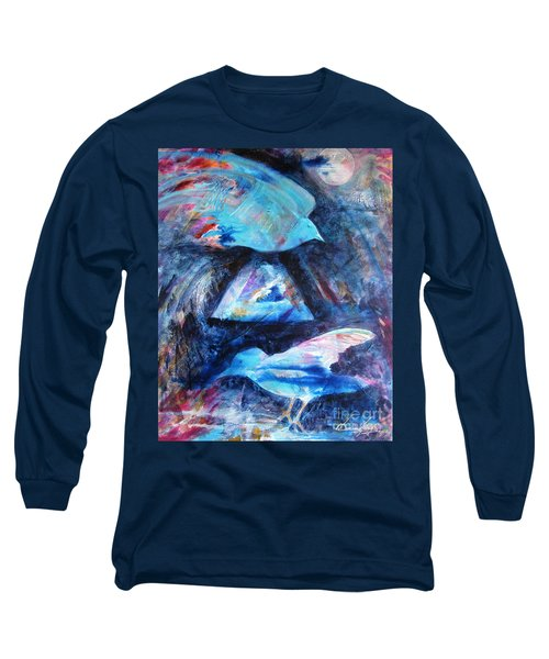 Moonlit Birds Long Sleeve T-Shirt by Denise Hoag