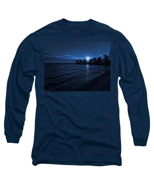 Moonrise On The Beach Long Sleeve T-Shirt