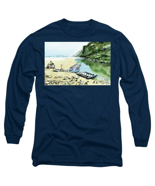 Long Sleeve T-Shirt featuring the painting Morning At Porto Novo Beach by Dora Hathazi Mendes