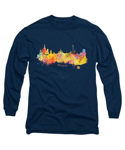 Moscow Skyline  Long Sleeve T-Shirt by Justyna JBJart