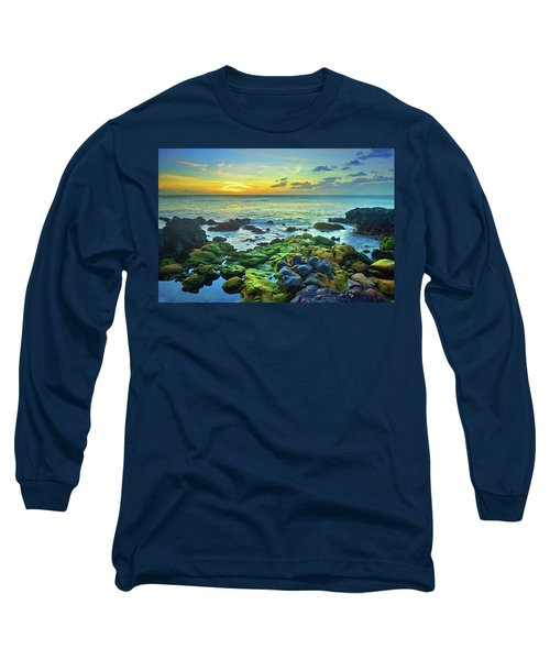 Long Sleeve T-Shirt featuring the photograph Moss Covered Rocks At Sunset In Molokai by Tara Turner
