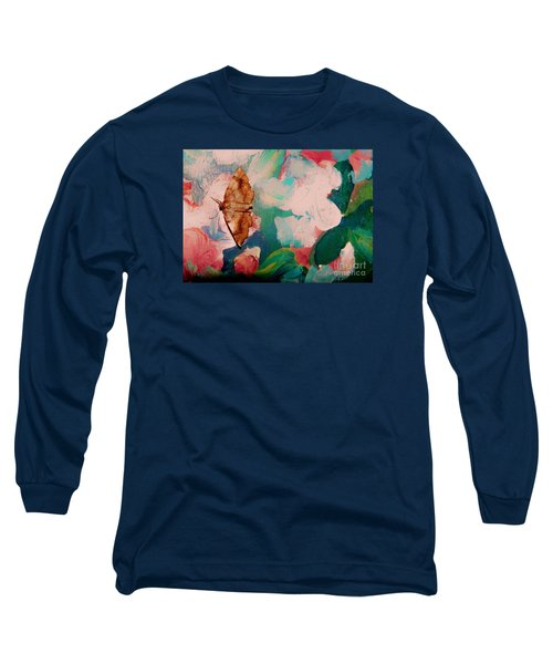 Long Sleeve T-Shirt featuring the photograph Moth On Painting by Shirley Moravec