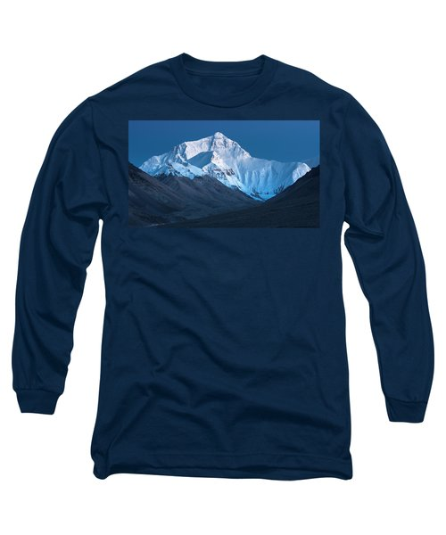 Long Sleeve T-Shirt featuring the photograph Mount Everest At Blue Hour, Rongbuk, 2007 by Hitendra SINKAR