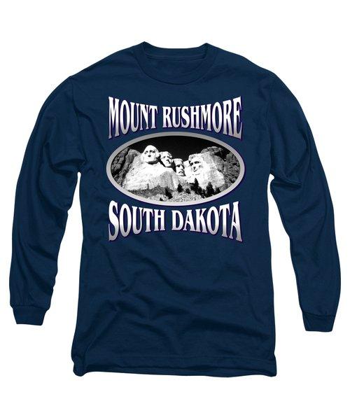 Mount Rushmore South Dakota - Tshirt Design Long Sleeve T-Shirt by Art America Gallery Peter Potter