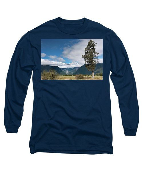 Long Sleeve T-Shirt featuring the photograph Mountains And Tree, Lake Matheson by Gary Eason