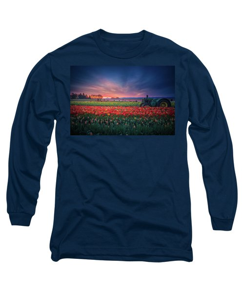 Mt. Hood And Tulip Field At Dawn Long Sleeve T-Shirt