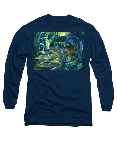 Long Sleeve T-Shirt featuring the painting Mural  Insects Of Enchanted Stream by Nancy Griswold